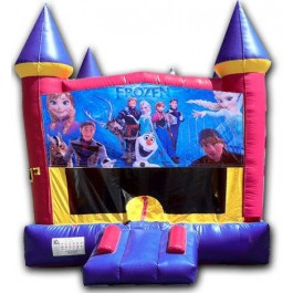 (C) Frozen Pink or Blue Castle Bounce House