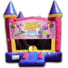 (C) Happy Birthday Girl Castle Bounce House