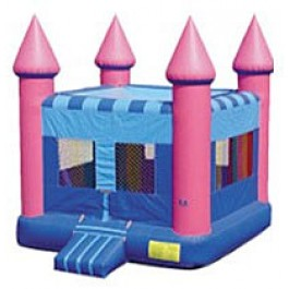 (A)  Pink Flatroof Castle Bounce House